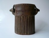Ceramic Oval Gazelle Vase in Freckled Brown, OOAK, Mother's Day Gift, Usable Art by Cecilia Lind, StudioLind