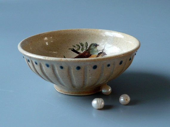 Trinket Bowl with Vintage Bird Print