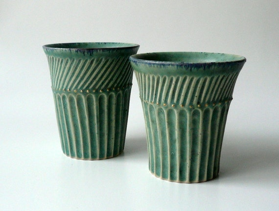 Teal Cup with Sparks of Gold