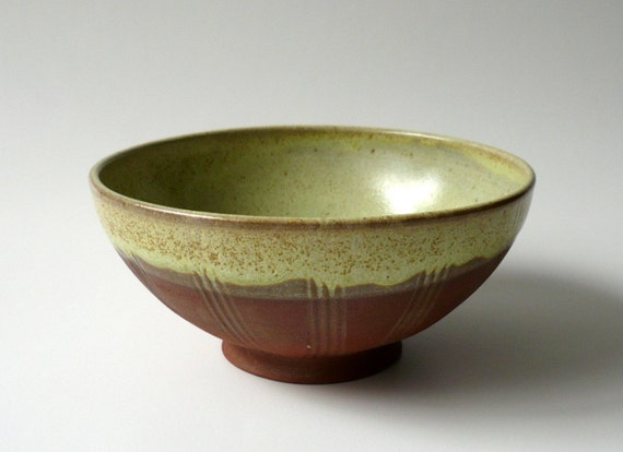 S A L E - Rustic Terracotta Bowl in Lime Green