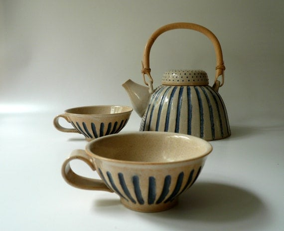 A Pair of Striped Teacups in Sand and Blue