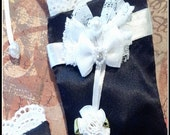 Set of two, Keepsake Sachets black satin and shabby chic lace