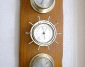 Vintage, 1972 Thermometer, Barometer, Humidity On Solid Wood Wall Hanging