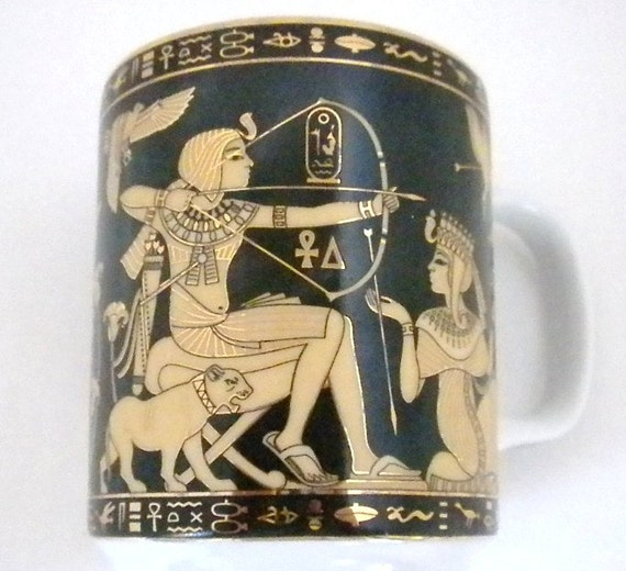 Egyptian Porcelain Cup, Fathi Mahmoud Limoges Made in Egypt, Black and Gold