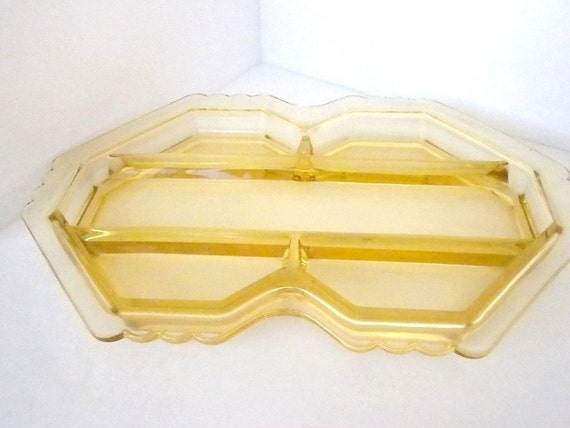 Vintage, Yellow/Amber Glass Relish Dish, Tray