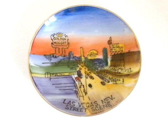 Vintage Plate,  Hand painted Plate of Las Vegas Stripe in the 1970s