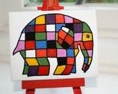 ELMER ELEPHANT - Handpainted Mini Canvas