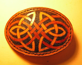Hand-tooled Leather Celtic Belt Buckle