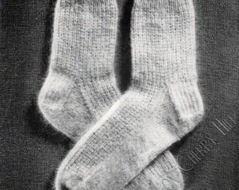 Mohair Socks PDF Knitting Pattern INSTANT DOWNLOAD, vintage sock pattern, waffle weave pattern, ribbing, trouser sock, fuzzy socks 131