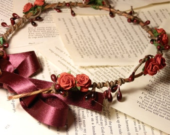 Tinkerbell's berry garland hairpiece - A red rose and berry hair wreath floral crown