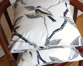 Pillow cushion in black and white with birds and flowers, 16 x 16 pair