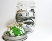 Pincushion Jar, Medium Green and White Floral Pincushion with Unique Round Storage Jar