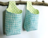 Two Hanging Baskets, Blue Green and White Reversible Fabric Storage Baskets