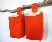 Tangerine Fabric Baskets, Two Reversible Hanging Home Storage