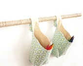 Hanging Storage Baskets, Two Blue and Tan Geometric Flower Fabric Hanging Baskets