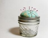 Spring Floral Pincushion Jar, Small Blue, Pink, and Brown Floral Pincushion