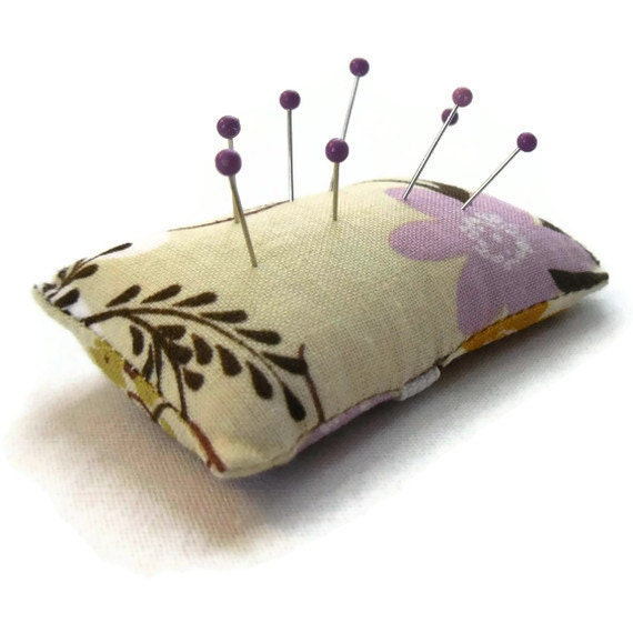 Pin Cushion Ring - Purple and Yellow  Floral