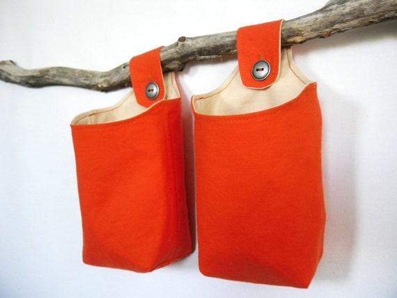 Tangerine Fabric Baskets, Two Reversible Hanging Home Storage