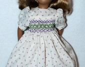 Purple Floral Smocked Dress for Sasha Doll