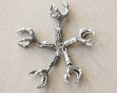 5 Large Claw Charms - Lead Free Pewter
