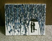 couple in rain- melted crayon art