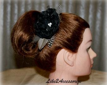 Black Flower Hair Clip Bridal Feather Flower Bridal Headpiece Bridesmaid Gift Wedding Hair Accessories Bridal Feather Hairpiece Hair Flower