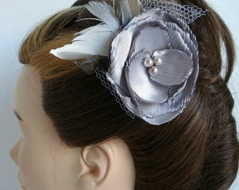 Champagne Flower Clip Wedding Accessories Handmade Flower Clip Bridal Feather Headpiece Bridesmaid Gift Bridal Hair Clip Bridal Hair Flower