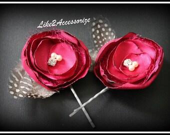 Red Hair Flower Clip Wedding Hair Piece Bridal Flower Clip Bobby Pins Bridal Feather Headpiece Bridesmaid Gift Hair Accessories