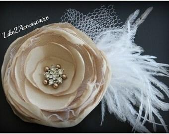 Champagne Bridal Hair Flower Clip Bridal Feather Hair Flower Bridal Fascinator Wedding Hair Accessories Wedding Headpiece Hair Accessories