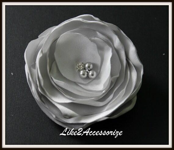 Grey Flower Clip Wedding Accessories Handmade Fabric Hair Flower Wedding Hair Flower Bridal Headpiece Bridesmaid Gift Set Wedding Hair Clip
