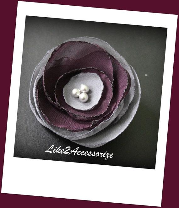 Grey Plum Flower Clip Wedding Accessories Fabric Hair Flower Headpiece Bridesmaid Hair Piece Bridesmaid Gift Set Wedding Hair Accessories