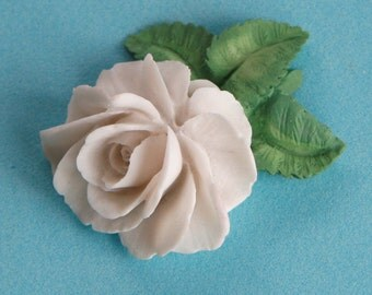 Hand painted White ROSE brooch made in Wales