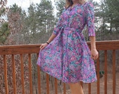 FINAL CLEARANCE Teal, Purple and Pink Floral Dress by California Looks