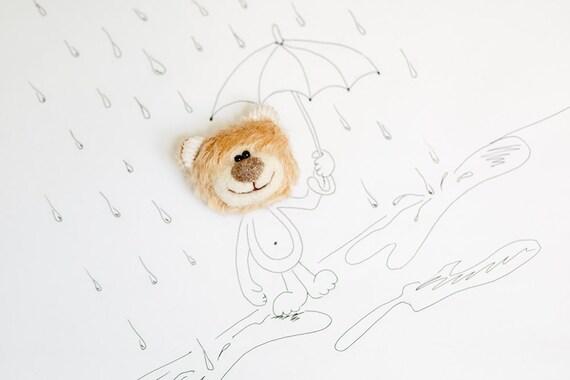 Mohair Teddy bear face brooch