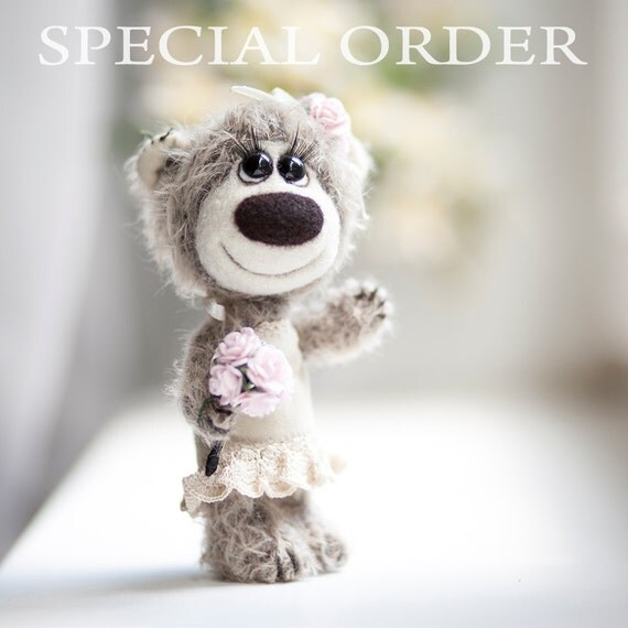 Collectible mohair teddy bear Mirabel- Artist Bear OOAK - Birthday gift - Wedding gift - Bride