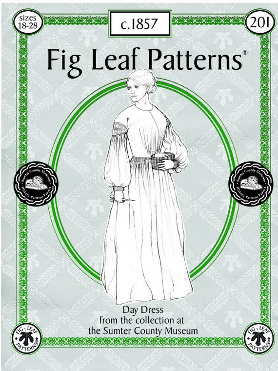 Fig Leaf Patterns 201, Day Dress c.1857,  size 18 to 28