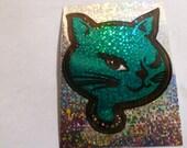 Green Vintage Glitter Cat Sticker