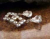 Vintage silver crystal diamond dangle earrings AuldLangSyne Mothers day gift triangle tear drop