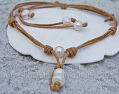 Leather and pearl necklace - leather necklace - rustic necklace - tribal necklace - gypsy necklace