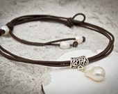 """Freshwater pearls and leather necklace - multi-strand brown leather necklace - white pearl necklace - """"Modern Romance"""""""