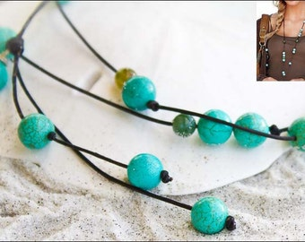 Turquoise and leather lariat necklace - leather necklace- long lariat - leather lariat necklace - blue necklace -trendy necklace