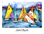 Sunfish Regatta watercolor print 16x20 Bay of St. Louis, Mississippi, colorful sailboats