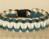 Teal  and White Paracord Bracelet