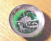 VINTAGE Murano Italian Glass  Dish w Sterling Silver Overlay Venice  Emerald Green