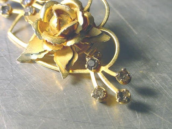 RESERVED HEATHER VINTAGE Pin Brooch Pendant Double Heart Rose rhinestones