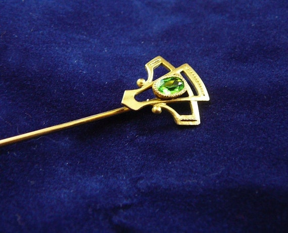 Vintage Art Nouveau ladies' stick pin - Brass/gold with green/peridot gem estate jewelry brooch