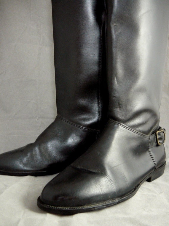 Vintage black leather knee high riding boots - buckle detailing, shiny leather 8.5 B M shoes - Reserved for Aimee until 7/1