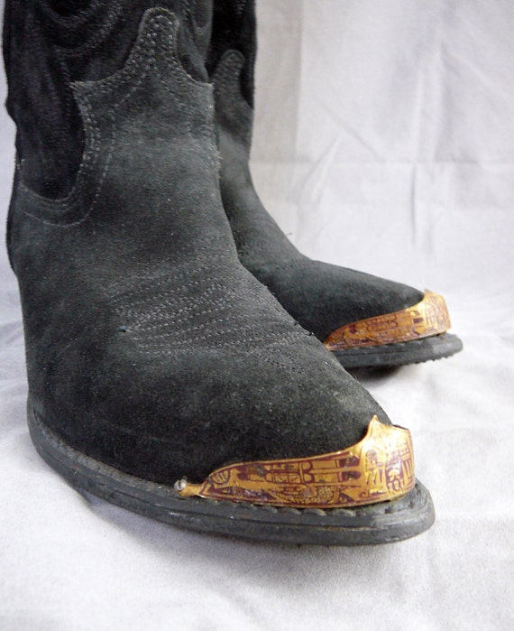 Awesome vintage cowboy boots in black suede with metal toe caps / shields - 7.5 M shoes