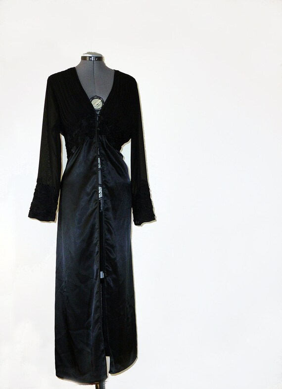 Matching black satin peignoir - fantastic ribbon embroidery gown and robe with sheer pleats L XL