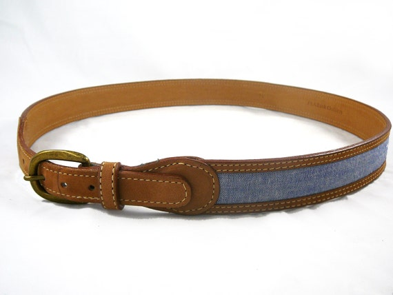 Vintage tan leather and chambray Jos. A. Bank belt - 32 S M mens / womens blue brown